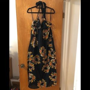 French connection maxi tie neck dress 8